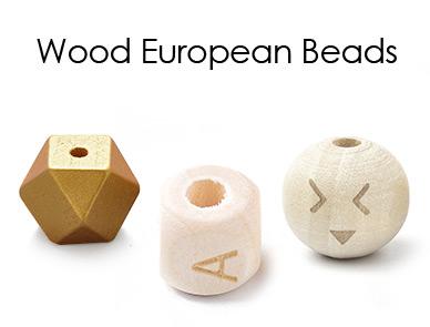 Wood European Beads